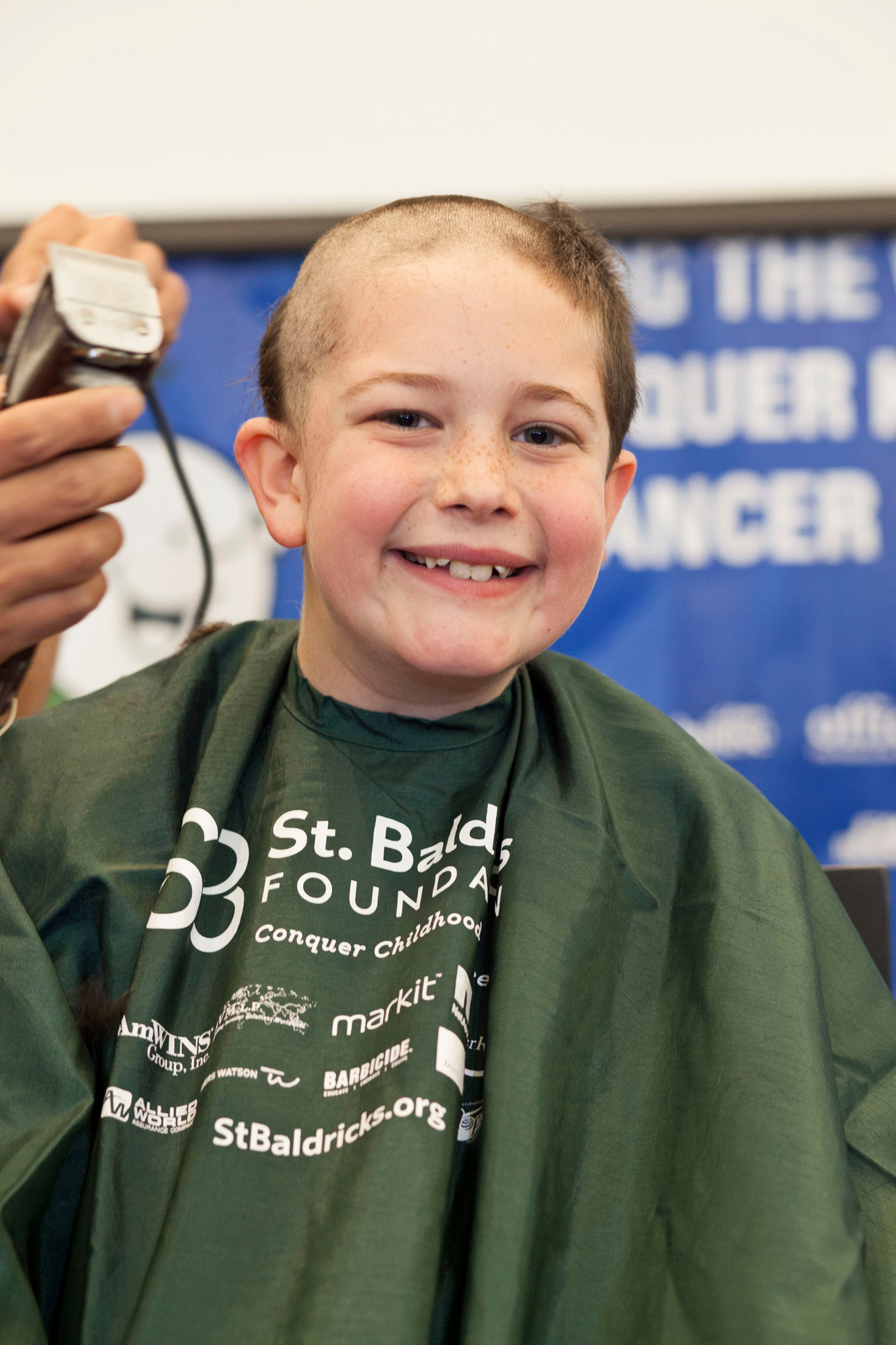 Eric Coferes was one of the many people that had their head shaved.