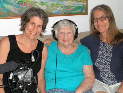 Laurie Weisman, far left, with Anna and Roz Jacobs while filming �Finding Kalman.�