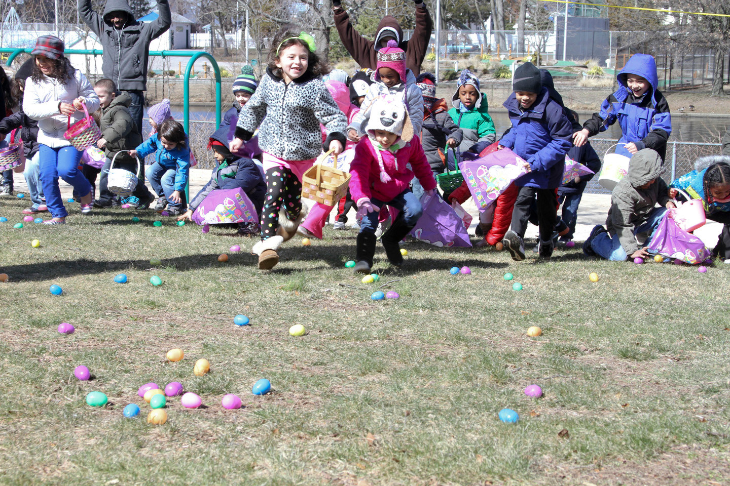 There were Eggs as far as the eye could see, until children scooped them all up, at Hendrickson Park last Saturday for the village's annual Easter egg hunt hosted by the Recreation Department.
