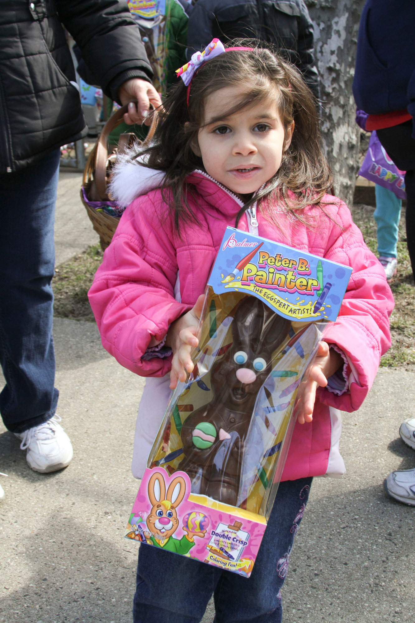 Kayla Sagona, 3, won a giant chocolate rabbit after she found one of the golden eggs.