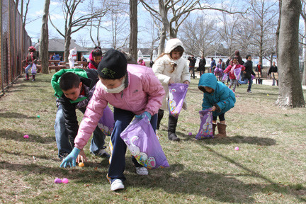 The chilly weather didn't stop children from bundling up and looking for Easter eggs.