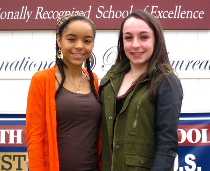 Valedictorian Justine Hamilton, left, and salutatorian Deanna Mostowfi are both scholar athletes and IB Diploma recipients.