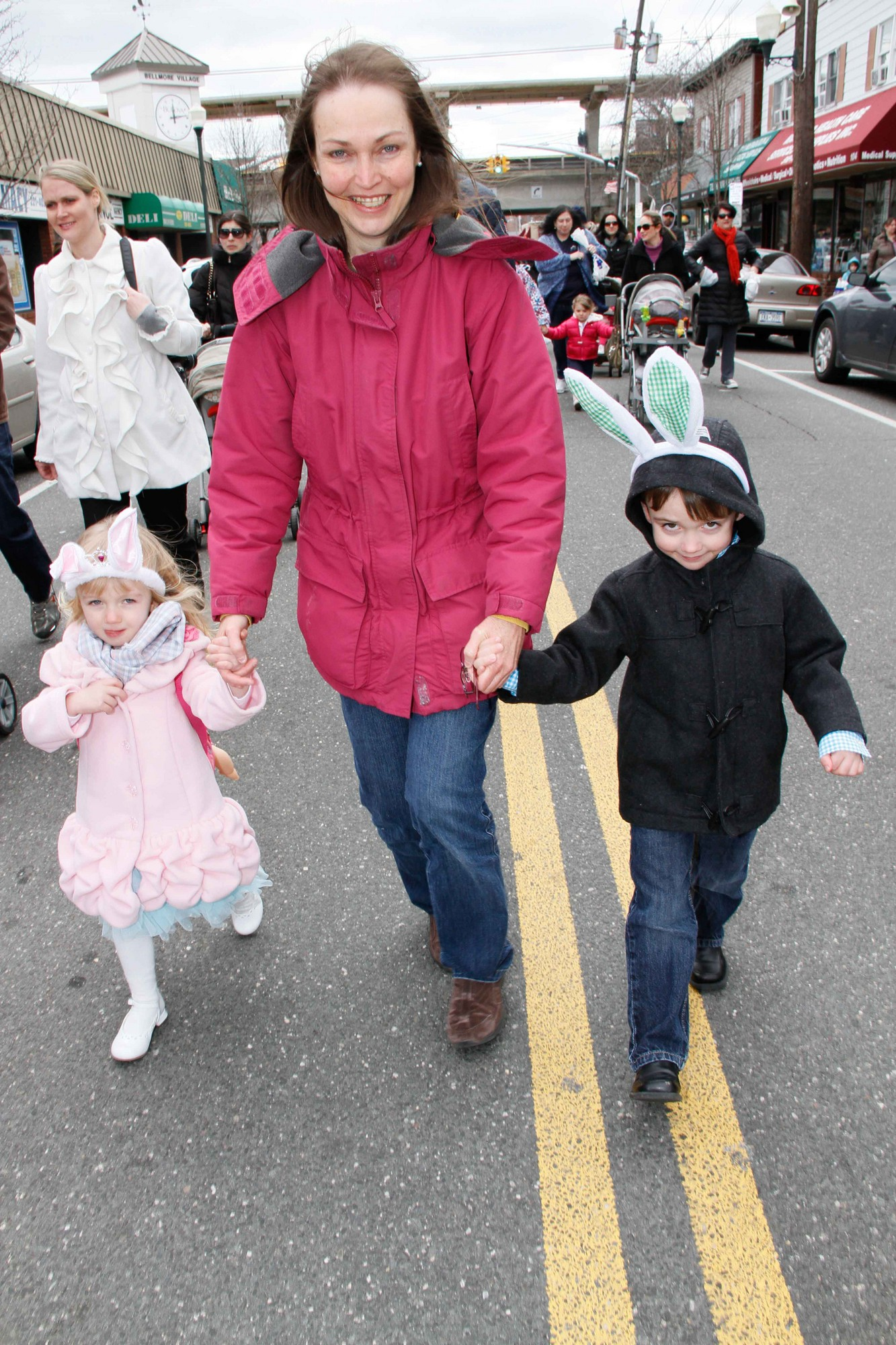 Cadence, left, and Brennan Grieve, both 3, marched down Bedford Avenue with their grandmother, Louise Sorger.