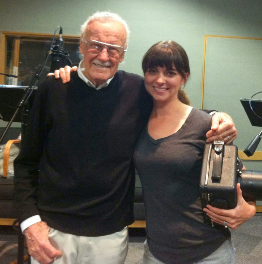 "Erica Parise, granddaughter of Cedarhurst Mayor Andrew Parise, took photographs of Stan Lee, the 90-year-old creator of Marvel Comics, at a voice over session for the television show, ""The Simpsons."""