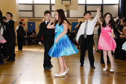 Willow Road School students, from left, Nathan Djokic, Jillian Cosme, Matthew Leo and Morgan Coyle showed off their ballroom dancing skills.