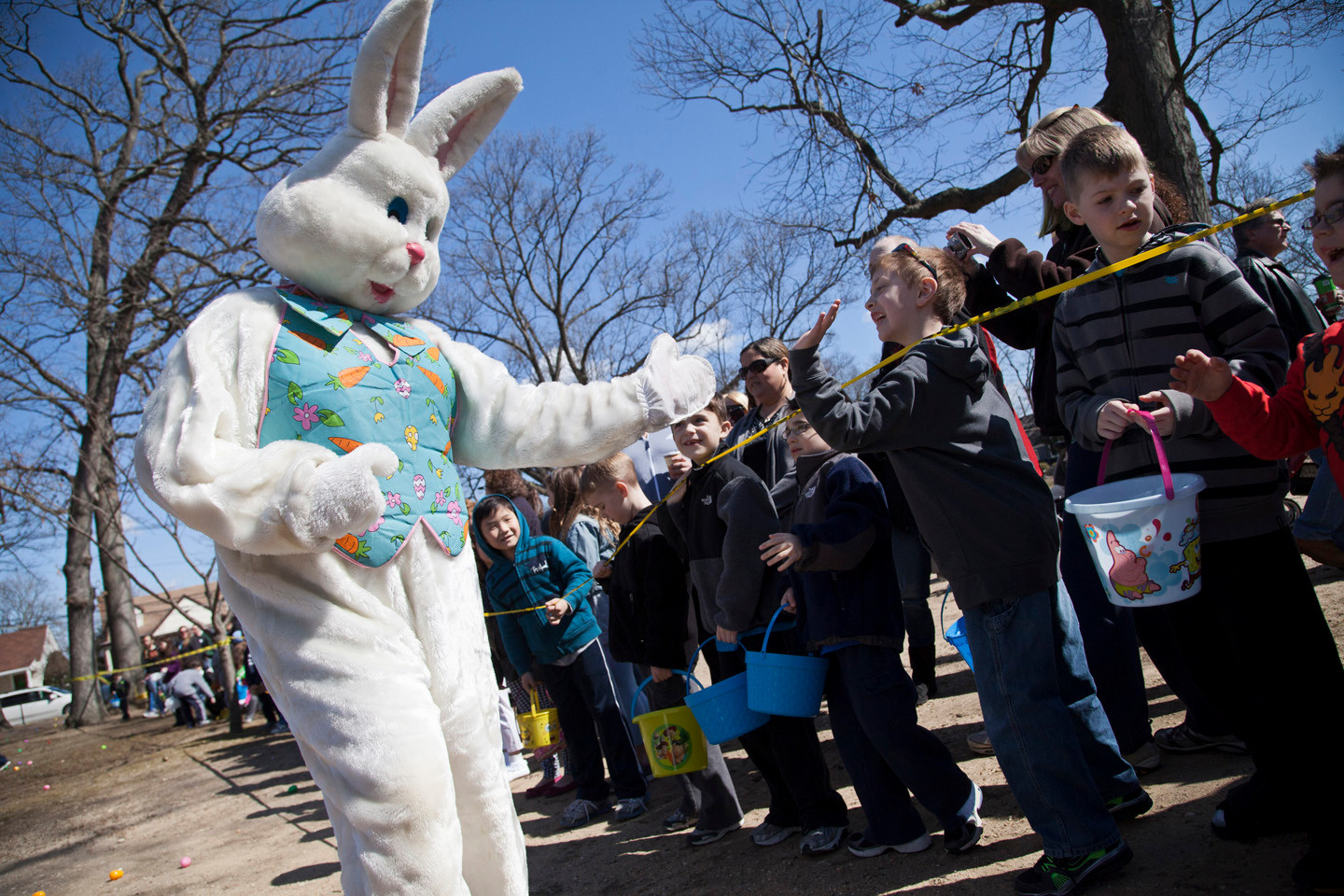 THE EASTER BUNNY made an appearance at the Easter Egg Hunt in East Rockaway.