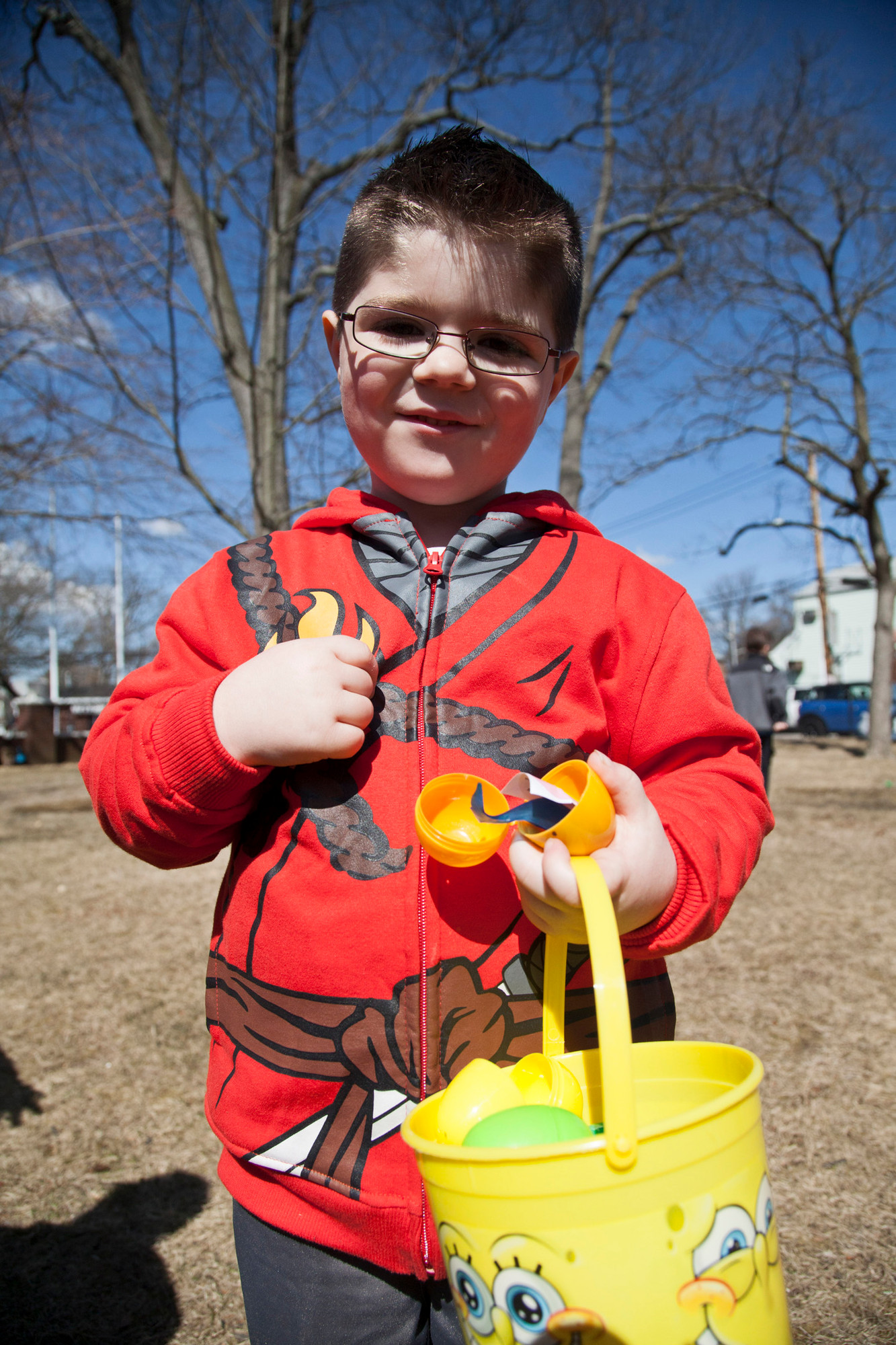 JONA TESCA, 5, found a lucky golden egg during his hunt.
