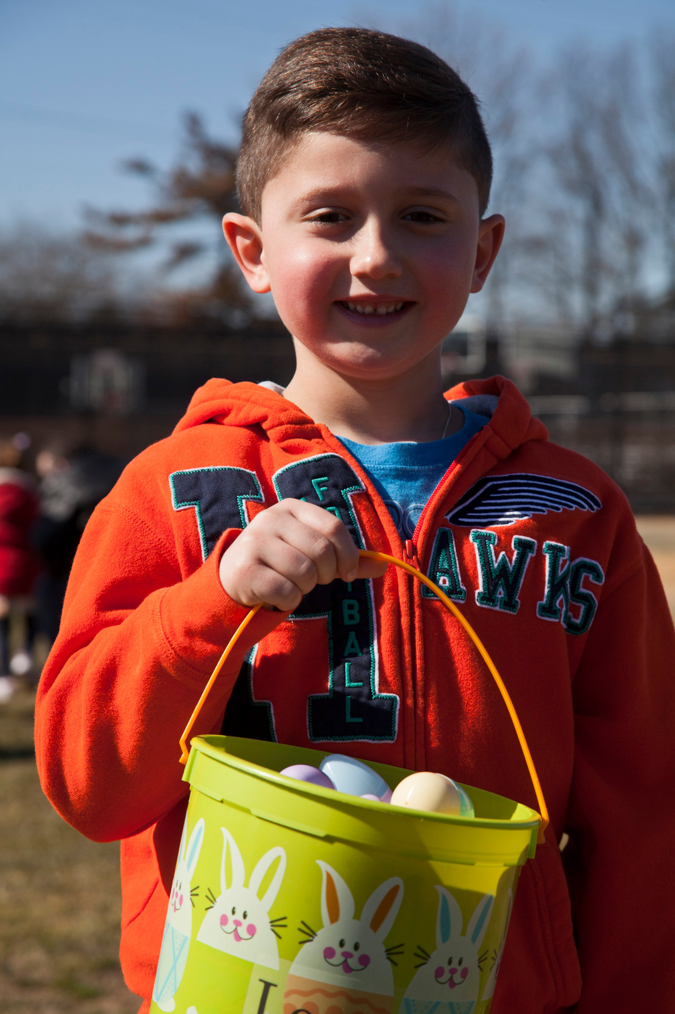 LOGAN FINK, 5, showed all of the eggs that he collected after the hunt.