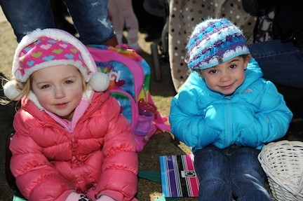 Four-year-old Morgan Millovich, left, of Bellmore, and 3-year-old Sari Schwartz, of Merrick, took part in the festivities.