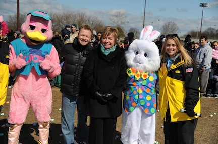 Lucky Duck and the Easter Bunny joined KJOY's Steve Harper, Town of Hempstead Supervisor Kate Murray and Leeana Karlson of KJOY, from left.