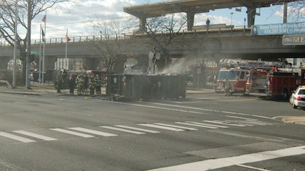 Firefighters from the Merrick Fire Department dealt with a fire at the intersection of Merrick Avenue and Sunrise Highway last week. The fire sparked inside a dumpster onboard a truck that was driving south on Merrick Avenue, prompting the driver to lower the dumpster off the truck and onto the roadway.