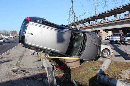 The Bellmore Fire Department responded to an accident involving three cars that caused one vehicle to flip over near major roadways last week.