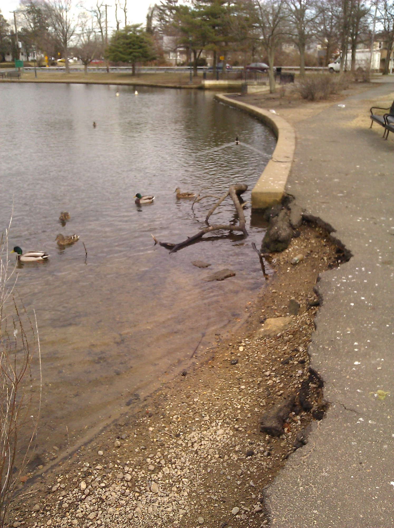 The crumbling walkway surrounding Silver Lake is one subject of a Baldwin Civic Association petition. It is slated for repair as part of the cleanup.