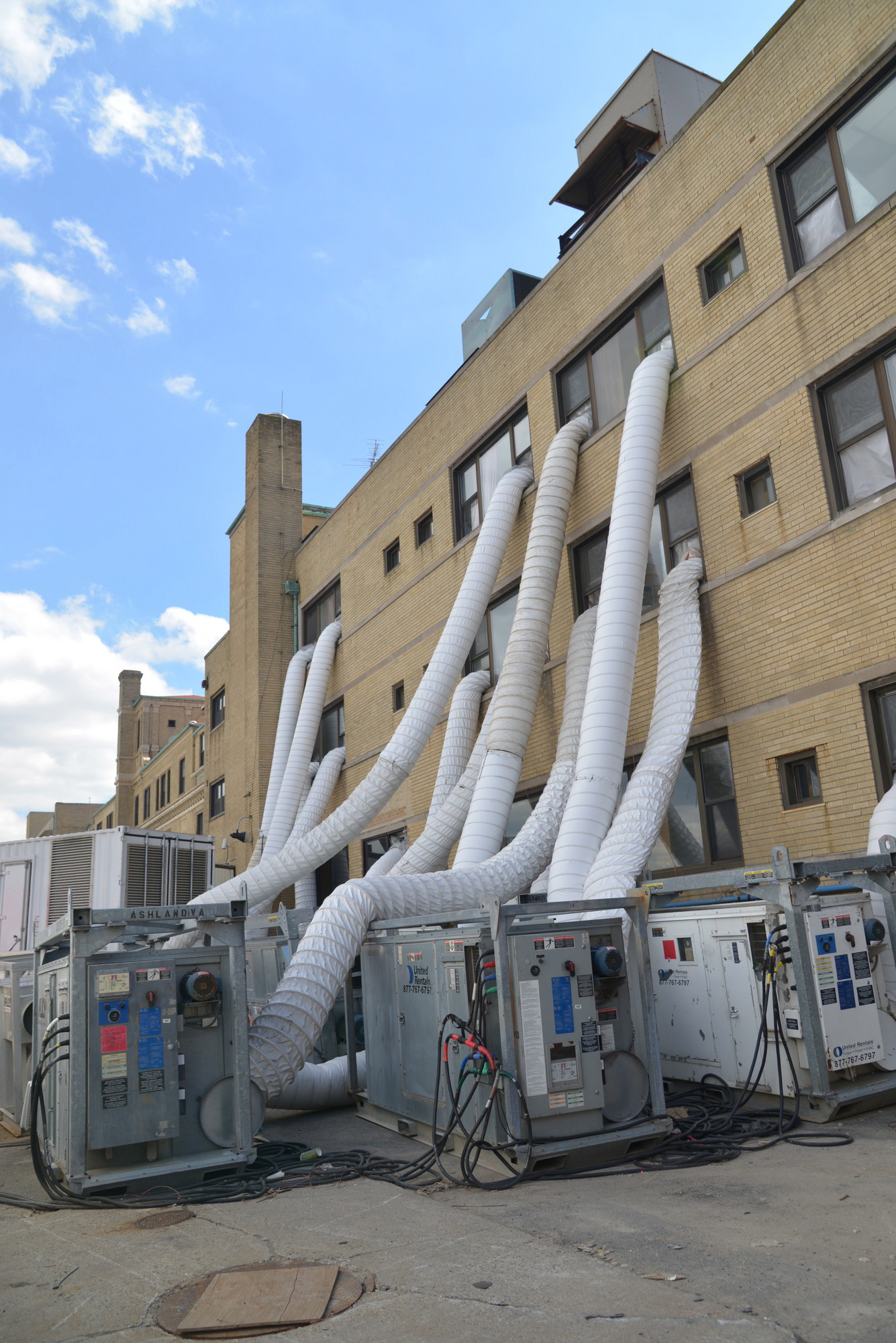 LBMC�s heating system is temporarily outside the building.