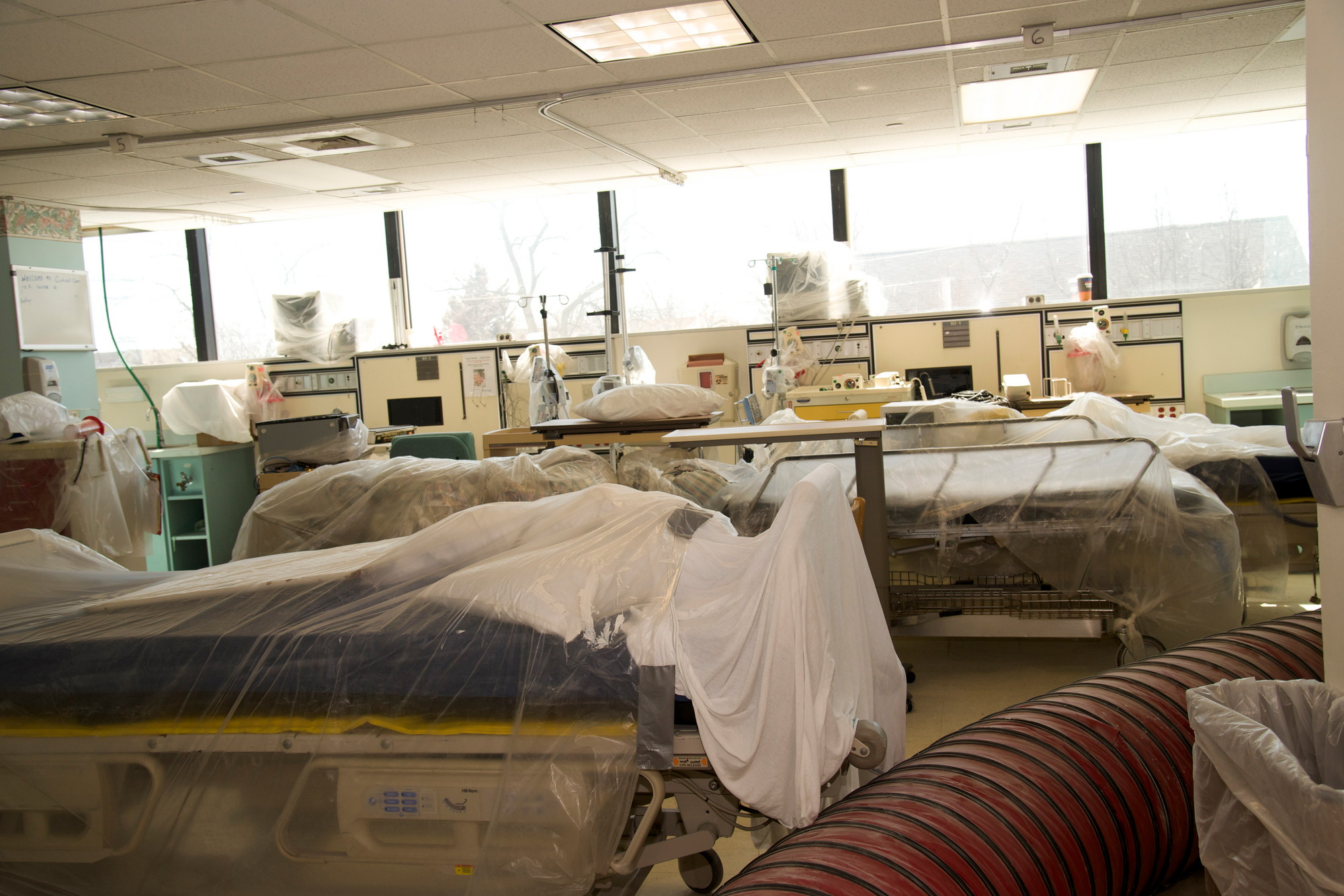 Two of the hospital's five wings, including its emergency department, are slated to reopen this month.