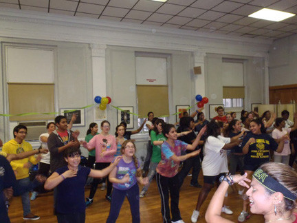 Many students participated in zumba for the first time.
