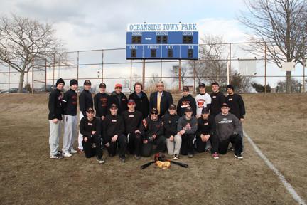 "empstead Town Supervisor Kate Murray and Senior Councilman Anthony Santino join head coach James Hickey (back 5th left) and members of the East Rockaway High School baseball team who are using Oceanside Park as a practice site after Hurricane Sandy destroyed school fields.  Supervisor Murray and Councilman Santino made Oceanside Park available to the ""Rocks"" during the month of March so the team could  hold daily practices in advance of the 2013 season.   Varsity players joining Supervisor Murray, Councilman Santino and Coach Hickey include, Damian Amiruddin, Matt Briedenbach, Eddie Carneglia, Mike Delgais, Dylan Delury, Anthony Filoteo, Frankie Gallegro, Ben Giliberti, Vinny Guida, Billy Humes, Patrick Kelly, David McClure, Chris Mulato, Cameron Ralph, Keith Risorto and Tom Scagnelli."