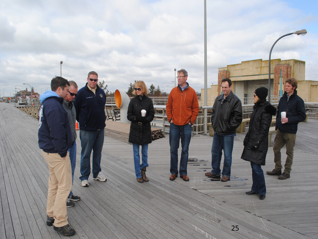 City officials checked out the boardwalks at Jones Beach and other coastal communities that were affected by the storm to help with its design.