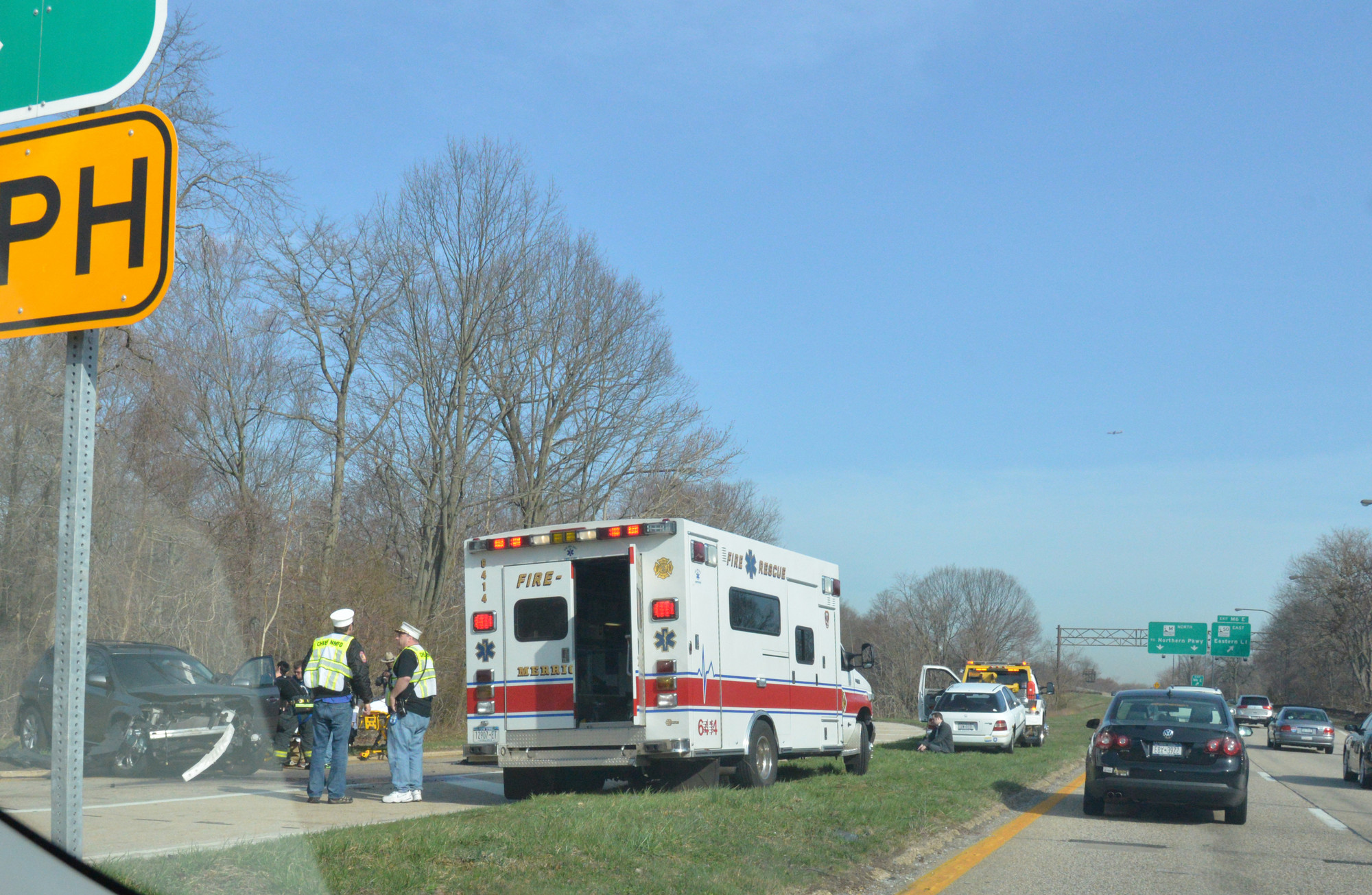 An auto accident tied up traffic on the Meadowbrook Parkway Tuesday morning, April 9.