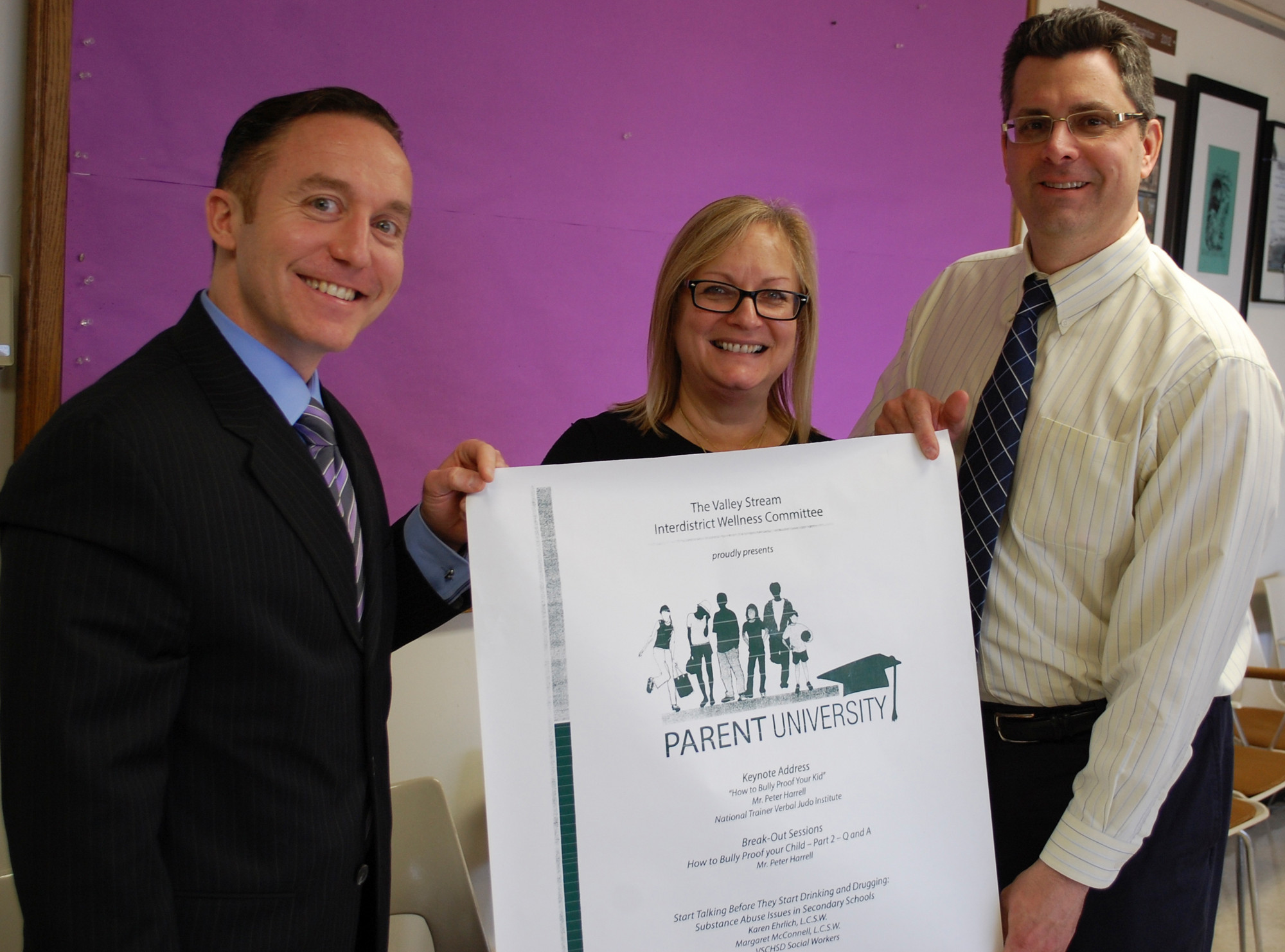 Wellness Committee members, from left, Dr. Scott Comis, Jill Vogel and Robert Milani invite parents to the April 29 program where they can learn how to communicate with their children on issues of bullying and substance abuse.