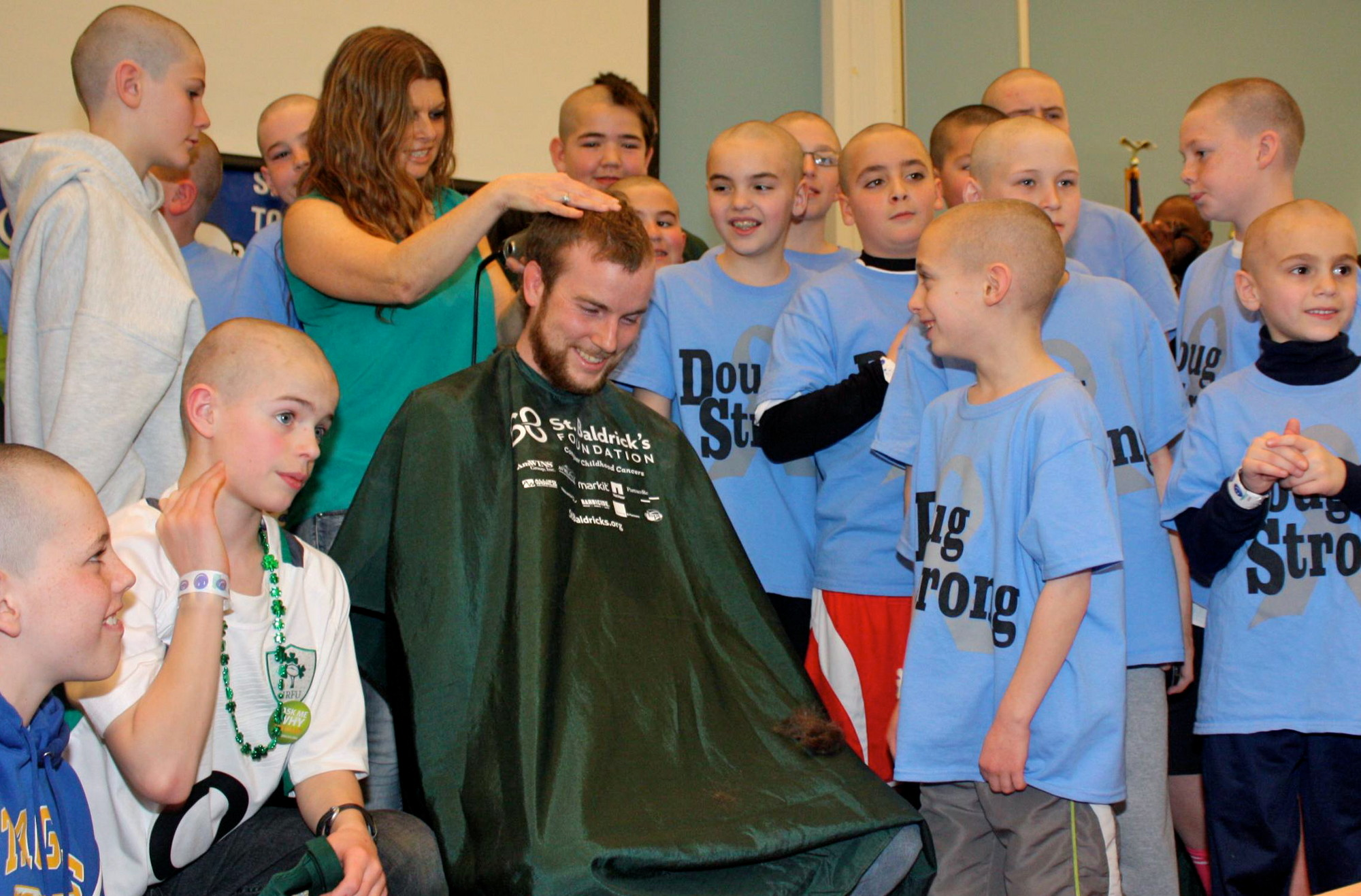 Friends and family of Doug Gonzalez had their heads shaved at the St. Baldrick's Foundation event last month in Rockville Centre. The group raised more that $21,000 for cancer research in Doug's name.