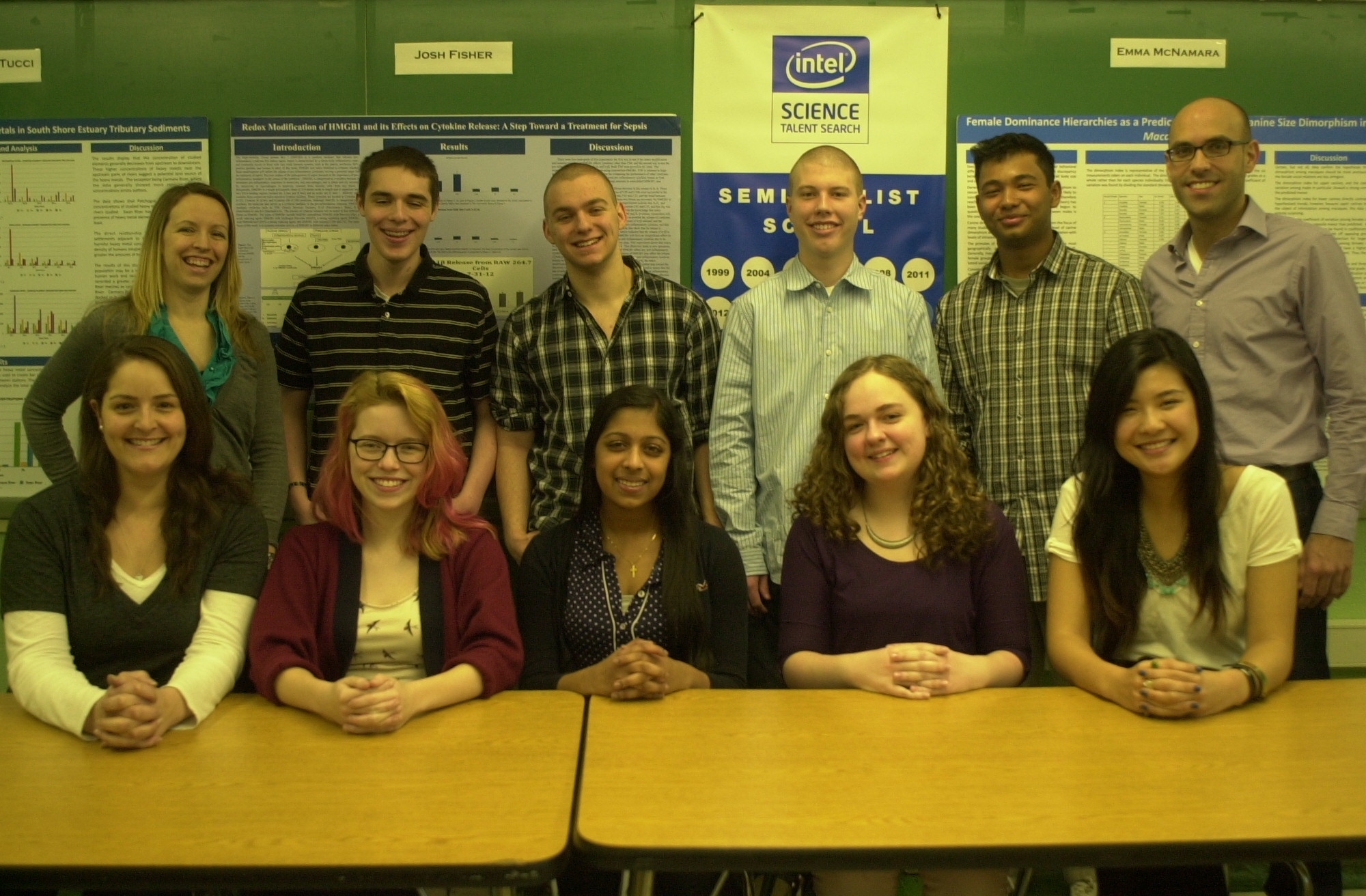 In all, eight Calhoun High School students were recently honored in the Intel Science Talent Search and the Long Island Science and Engineering Fair. They are, top row, second from left, Christian Tucci, Joshua Fisher, Tim Leimbach, Tasfiqual Chowdhury; bottom row, second from left, Brigid Maloney, Preetha Phillips, Emma McNamara and Jocelyn Yu. They were joined by their Authentic Science Research Program advisers, Jennifer Pefanis, top left, Nick Pappas, top right and Kim Lascarides, lower left.