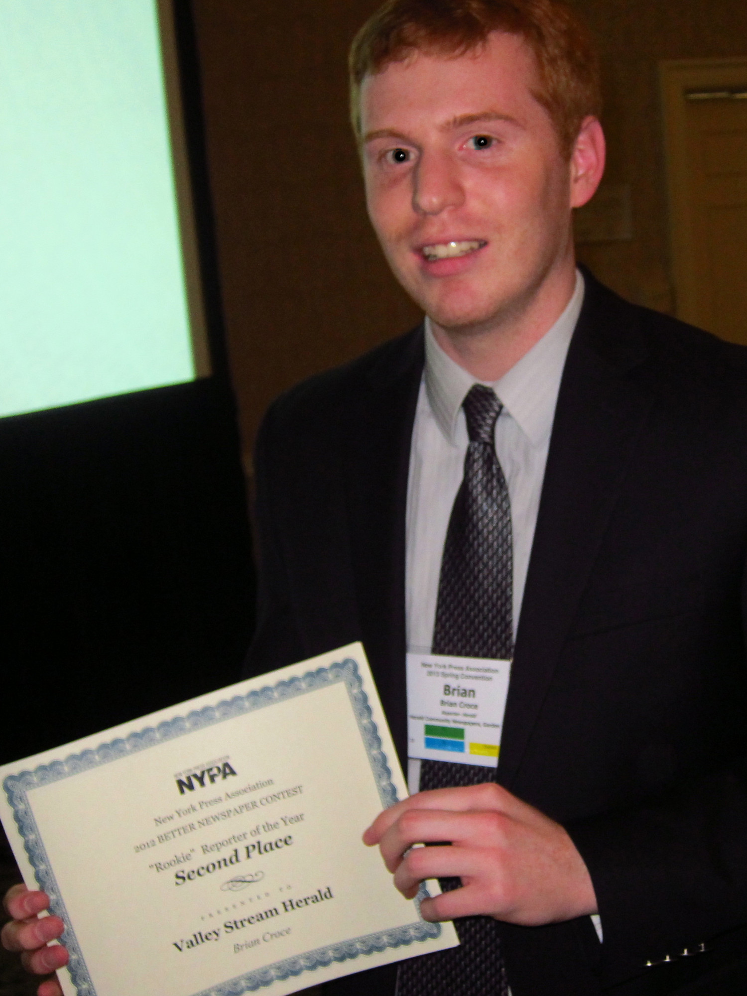 Brian Croce earned second place as the Rookie Reporter of the Year at NYPA's Better Newspaper Contest.
