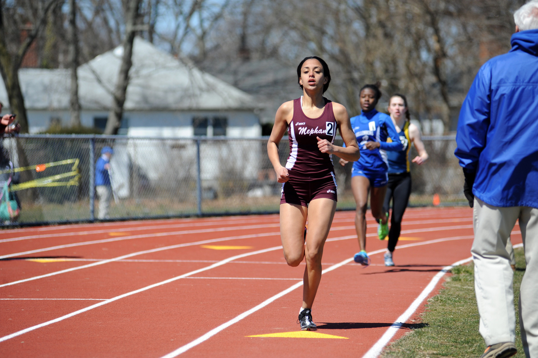 Mepham's Nadine Simpson took the role of the rabbit, as she led the first 800 meters in the girls' 1,500-meter race.