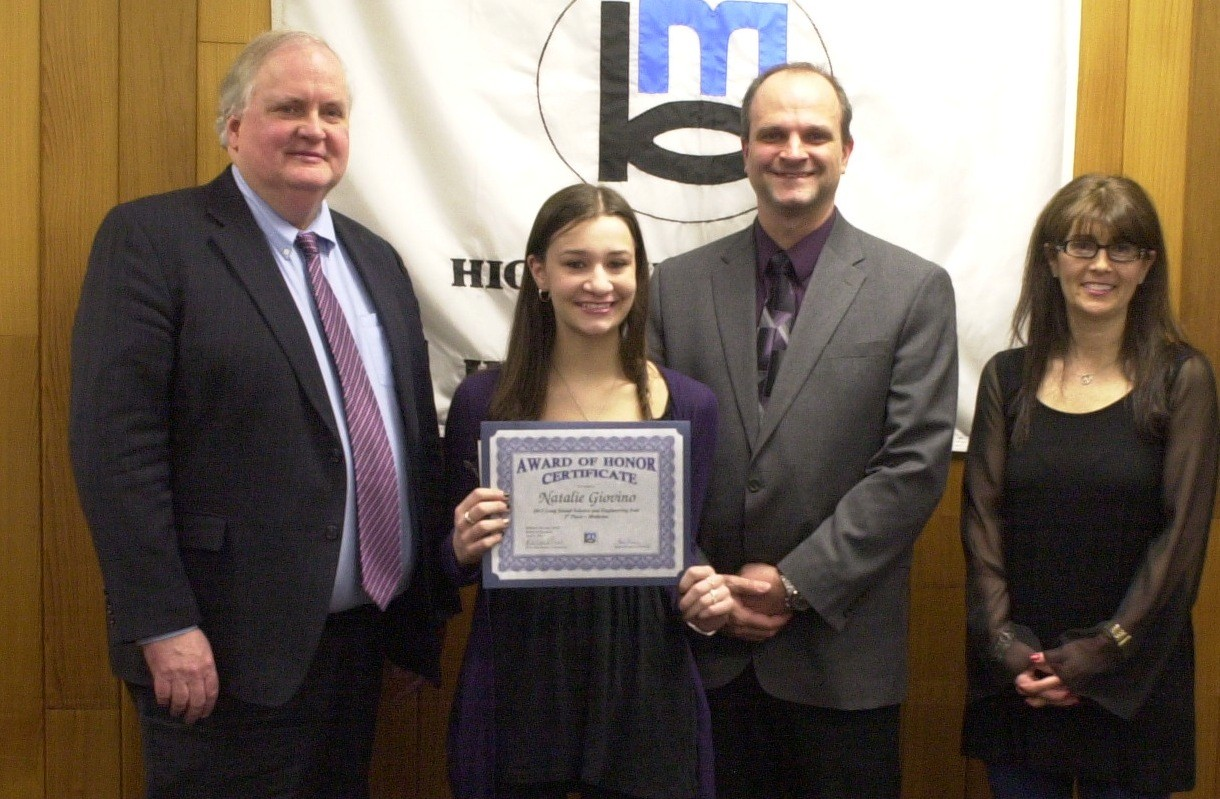 The Bellmore-Merrick Central High School District Board of Education recently honored Natalie Giovino for her big win at LISEF. Joining in the celebration were, from left, Superintendent Dr. Henry Kiernan, Kennedy Science Department Chairman Robert Soel and Board of Education Vice President Susan Schwartz.