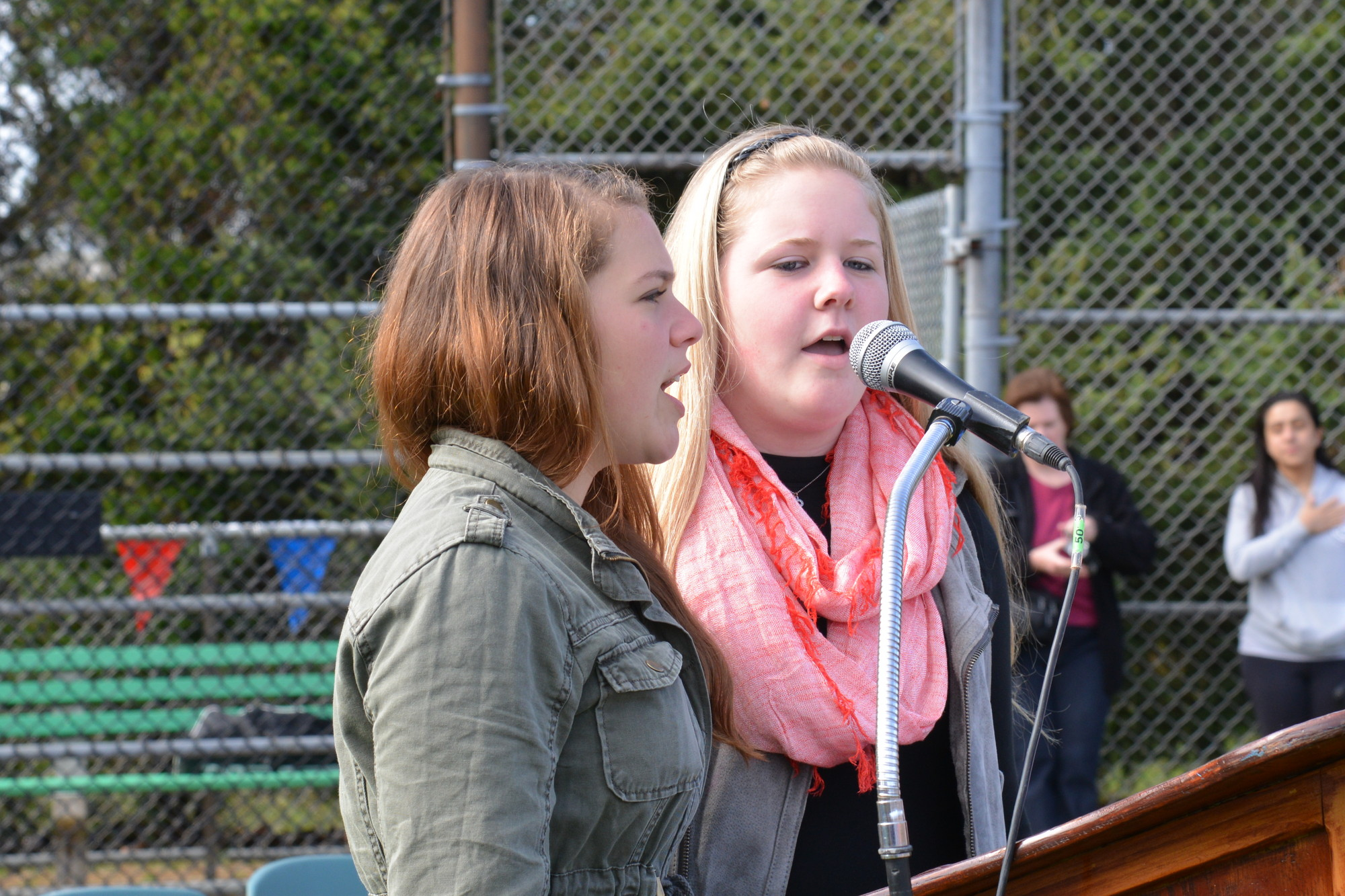 W.T. Clarke juniors Jenna Kennedy and Danielle Ragusa delivered a stirring performance of the National Anthem during the ceremony.