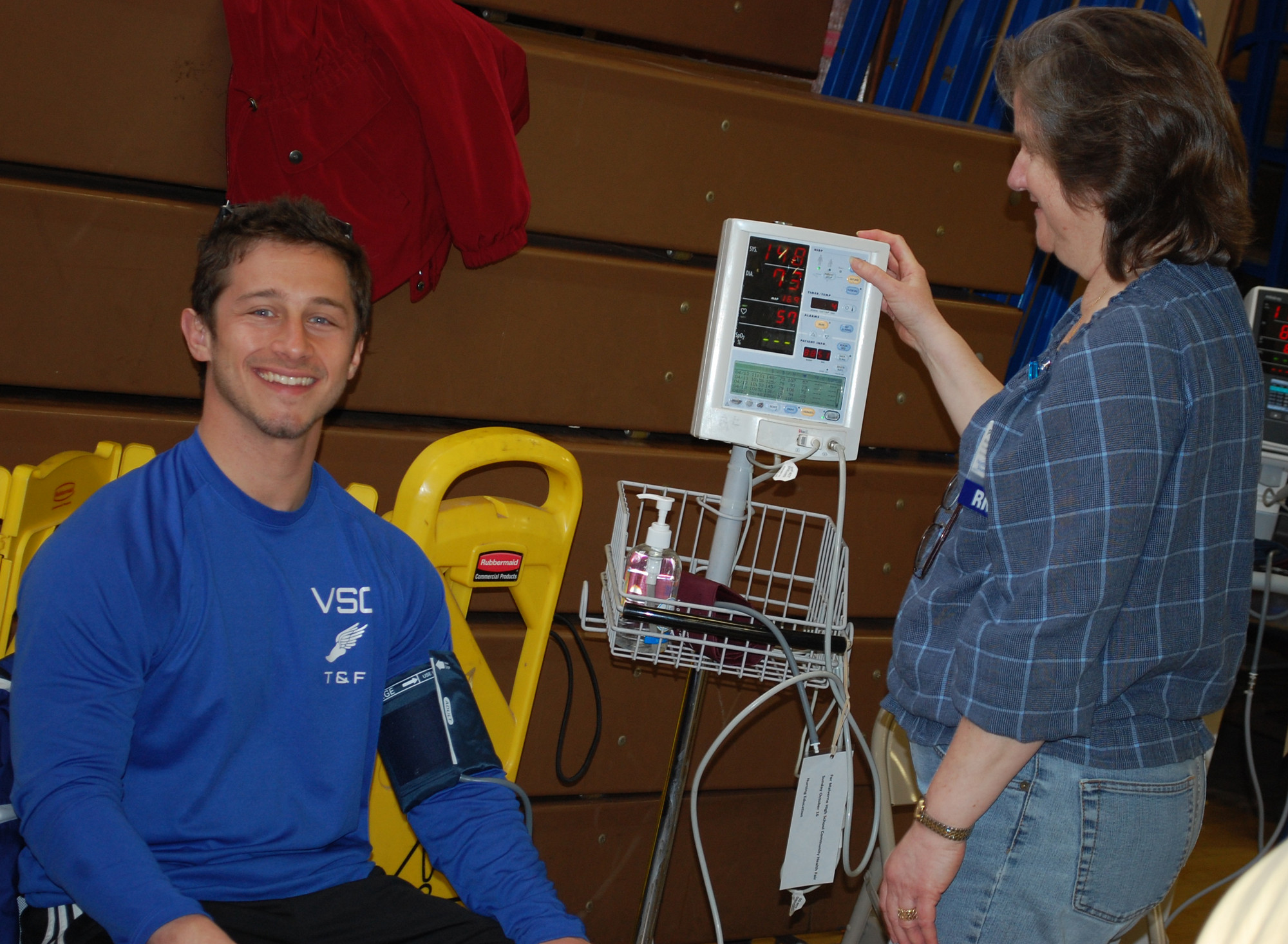 Jason Nappy, coach of Valley Stream Central High School�s track team, had his blood pressure checked by Peggy Mosono at Franklin Hospital�s annual health fair on April 13 at Memorial Junior High School.