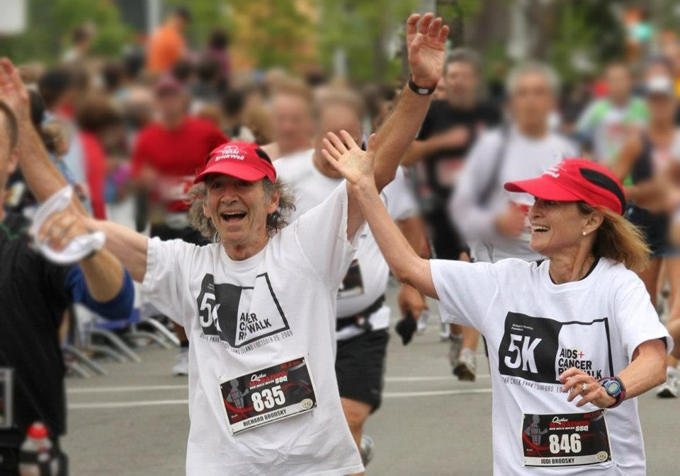 Atlantic Beach residents Richard and Jodi Brodsky, pictured finishing a 5K race In Quebec city, have run in nearly 40 marathons. On Monday, Richard watched his wife cross the Boston Marathon finish line less than two minutes before the explosions.
