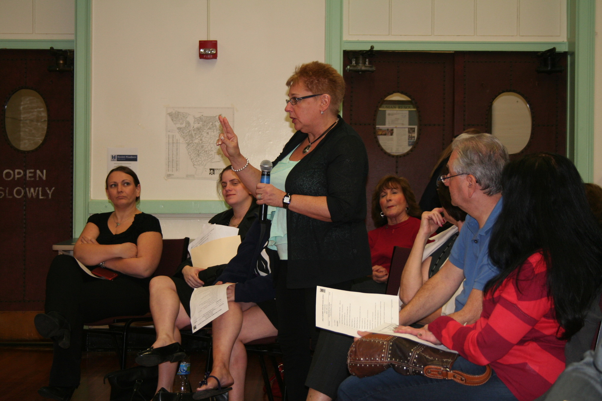 Hewlett resident Karen Schoenberger has been teaching Pilates as part of the Hewlett-Woodmere School District's Community Education for the past seven years. She expressed her anger at the district's initial decision to eliminate Community Education courses at the board's April 10 meeting.