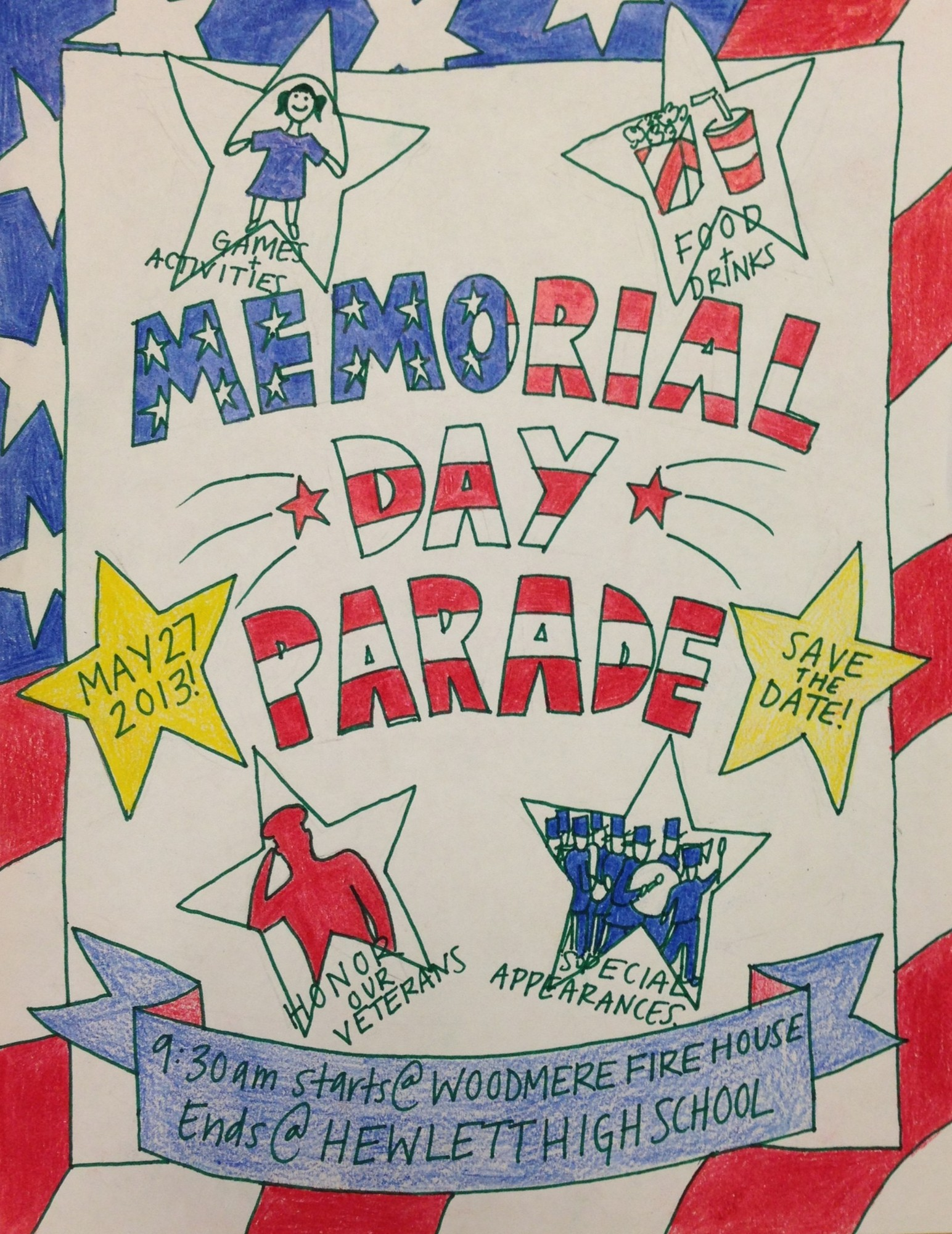 Hewlett High School sophomore Talei Tarakinikini created the Memorial Day parade poster with red, white and blue to make it patriotic and eye-catching.