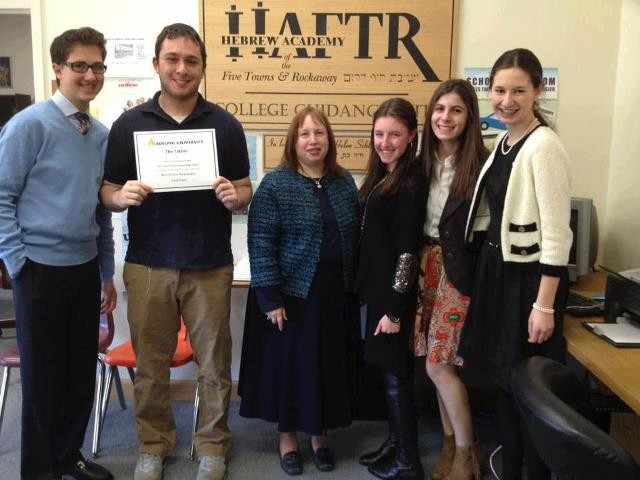�The Tattler,� HAFTR�s online newspaper, won the Adelphi University Quill Award for Best Online Newspaper. From left were students Sam Levinson, Matthew Maron, advisor Karen Wolf and students Daniella Seelenfreund, Katie Glickman and Dena Gershkovich.