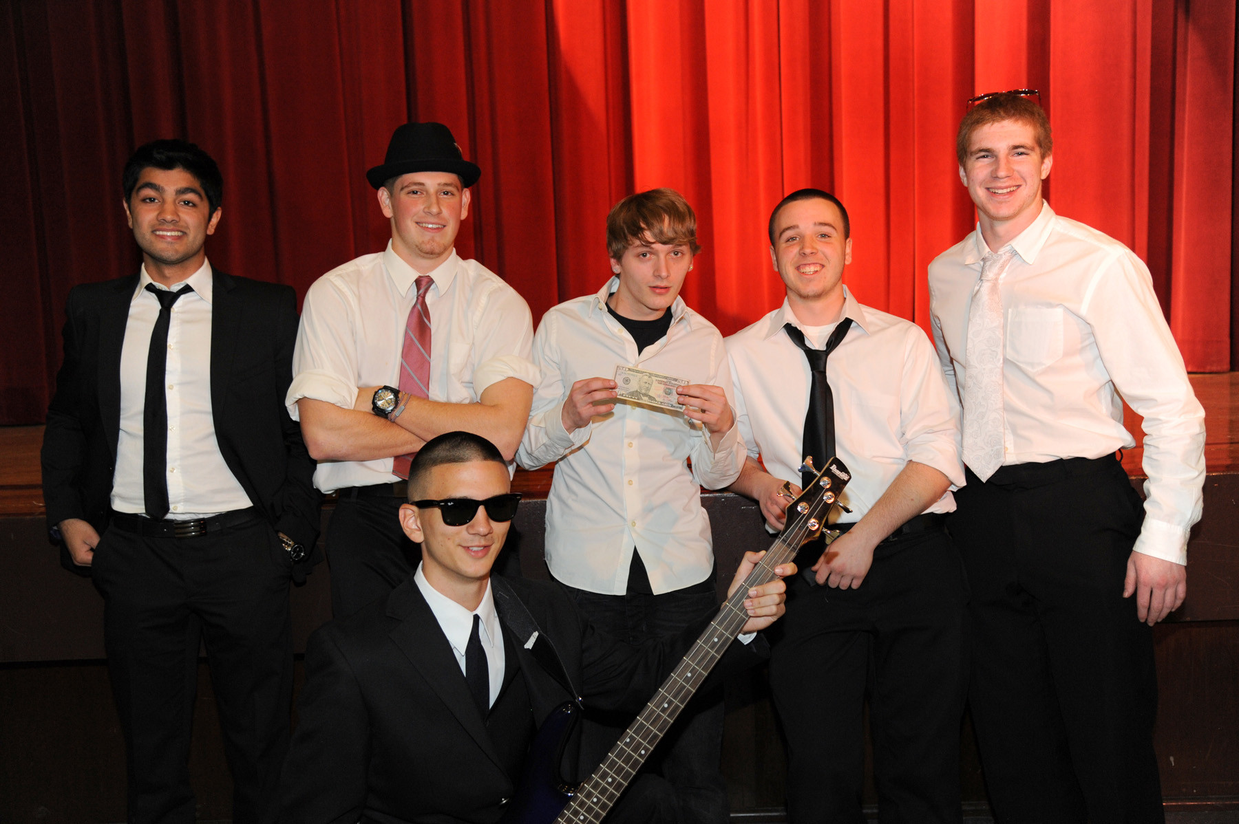 Ryan Chand, Nick Martinez, Tom Lofaso, Logan Abrams, Sean Gaffney and Mike Striano, from left, comprised James and the Giant Peaches.