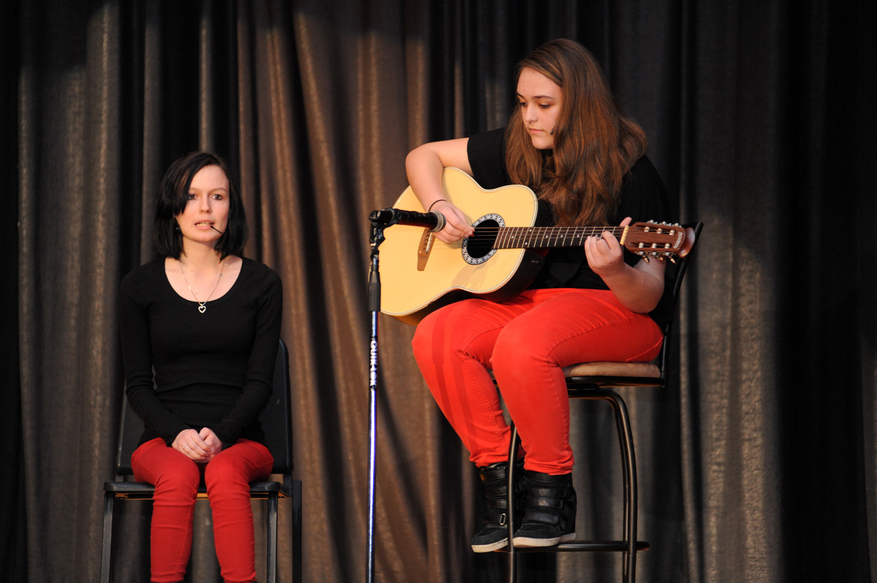 Carmela Cipriano performed with her Wellington C. Mepham High School classmate Anna Nicchia at this year�s talent show on April 11.