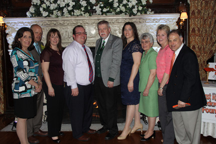 The East Rockaway Education Foundation Directors enjoyed the evening. Pictured from left were Linda Howarth, Hugh Howard, Kristin Ochtera, Recording Secretary Dan Caracciolo, President Richard Meagher, Dinner Dance Chairwoman Michelle Healy, Jane Brezenoff, Corresponding Secretary Lynn Gerken, and Ken Pacheco. Also present, but not pictured were EREF Vice President, and directors Vera Gallagher, Cathy Tierney, and Vicki Alspector.
