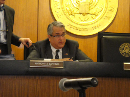 Councilman Anthony Santino moderated the hearing on redistricting and addressed concerns of angry residents on April 9.