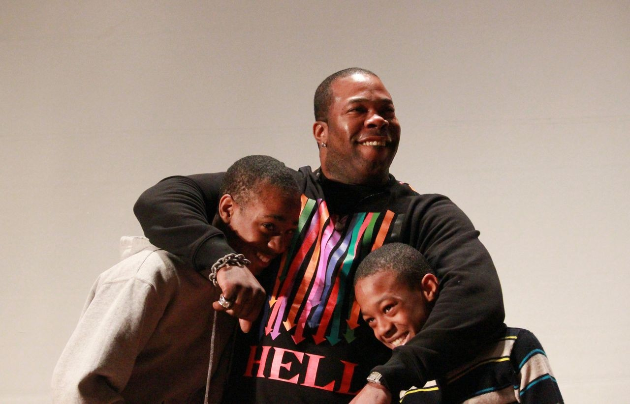 Busta Rhymes, pictured with his sons, BMS students T'khi and Trillian Wood-Smith, joined Melanie Martinez and several other musical performers with ties to Baldwin to make last Friday a thrilling one at the middle school. The surprise pep rally was intended to inspire students about to embark on the stressful state testing season, and included, in addition to musical numbers, motivational speeches and life advice.