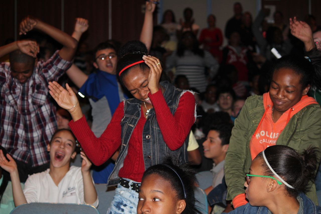 Students at BMS, stressed out about upcoming state tests, relaxed and enjoyed the music last week when rapper Busta Rhymes and singer Melanie Martinez made a surprise visit to the middle school.