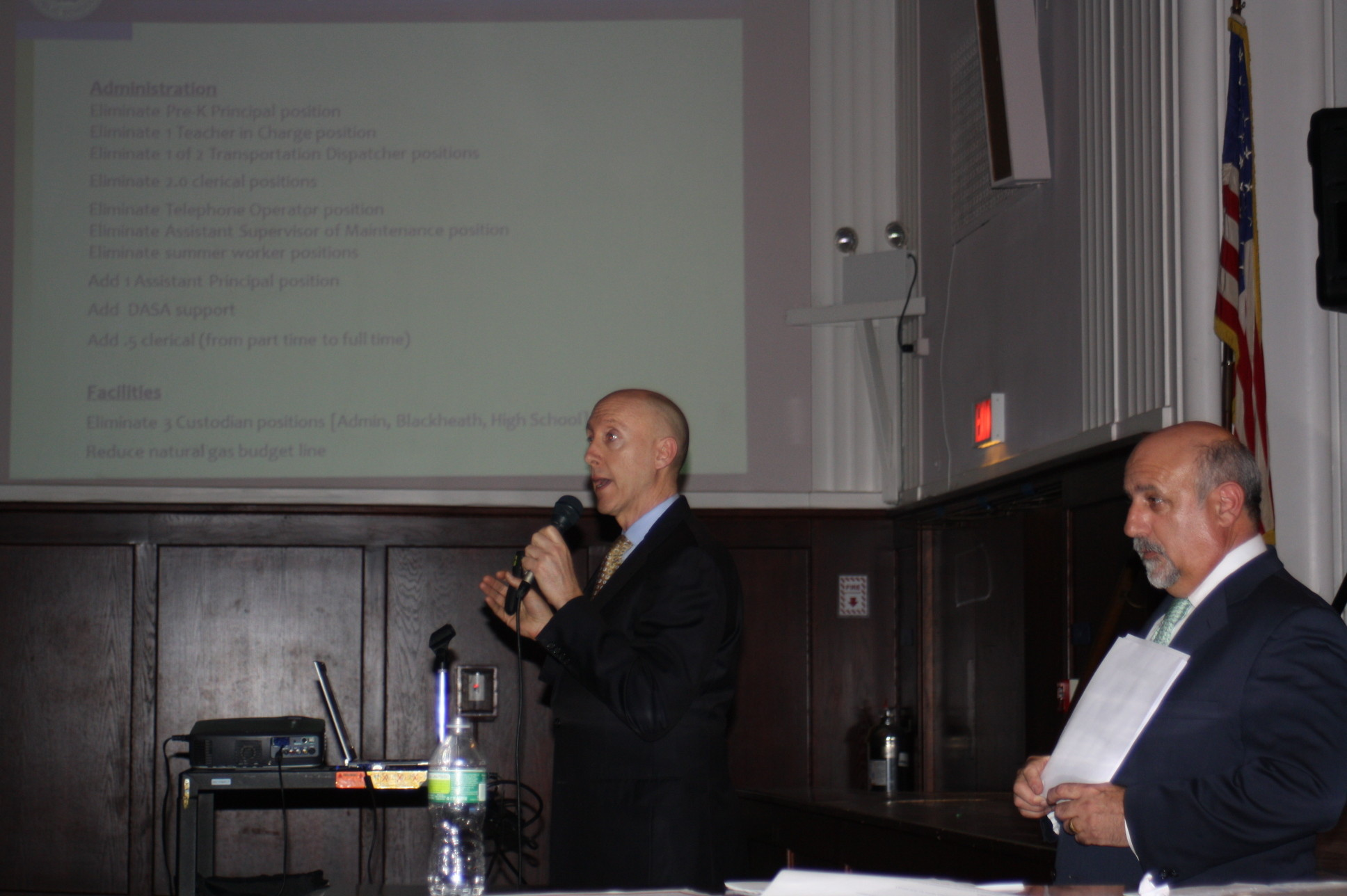 Chief Operating Officer Michael DeVito, left, and Superintendent David Wiess presented the final draft of the proposed 2013-14 school budget to residents last week.
