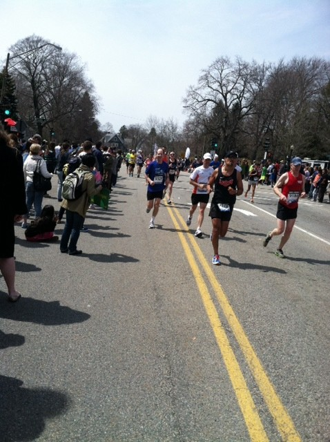 Lawrence resident, Aaron Freilich, ran in his fifth Boston Marathon on April 15. He is shown at mile 20.
