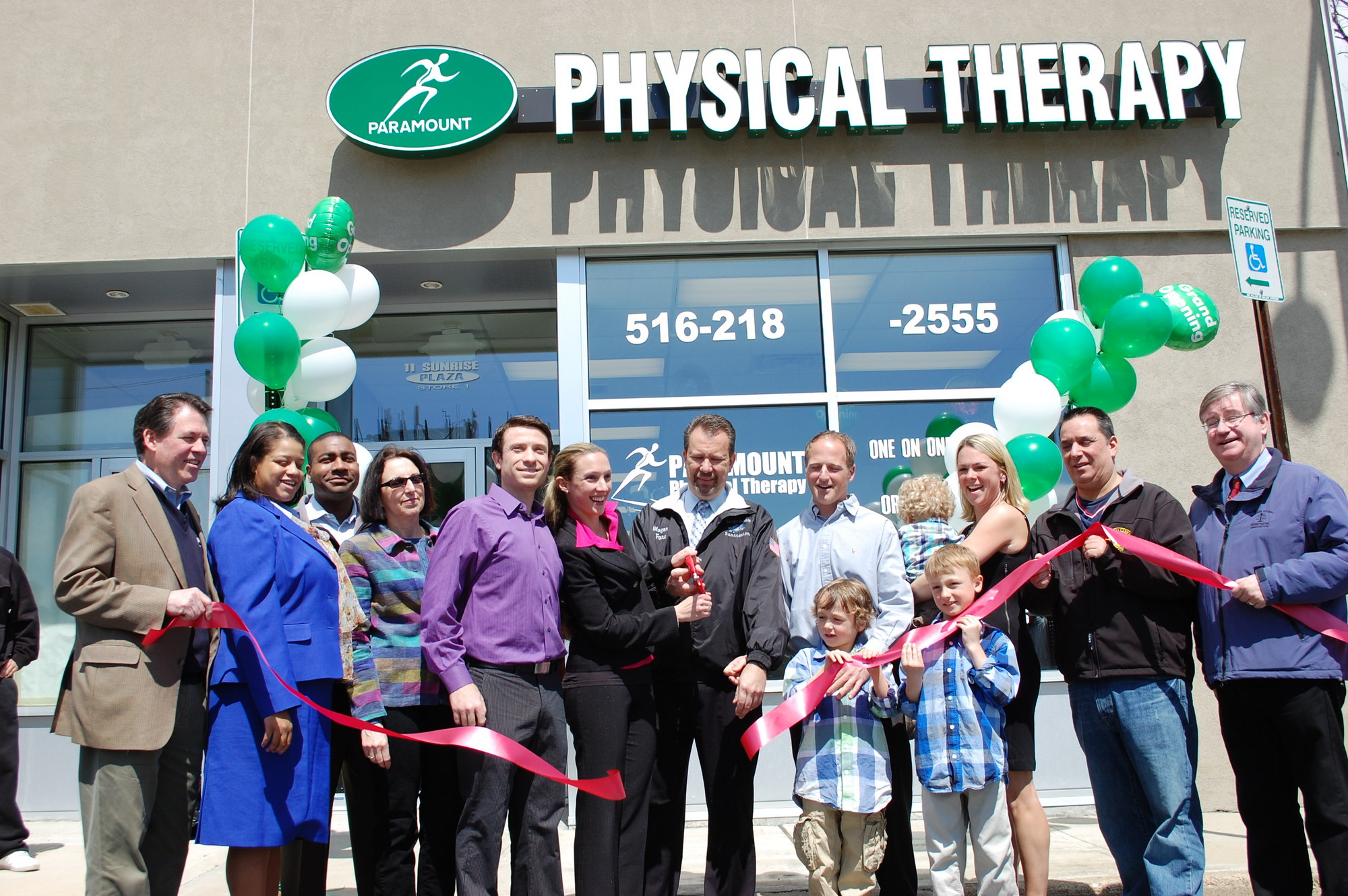 Paramount Physical Therapy on Sunrise Plaza celebrating it's grand opening with a ribbon-cutting ceremony on April 13.