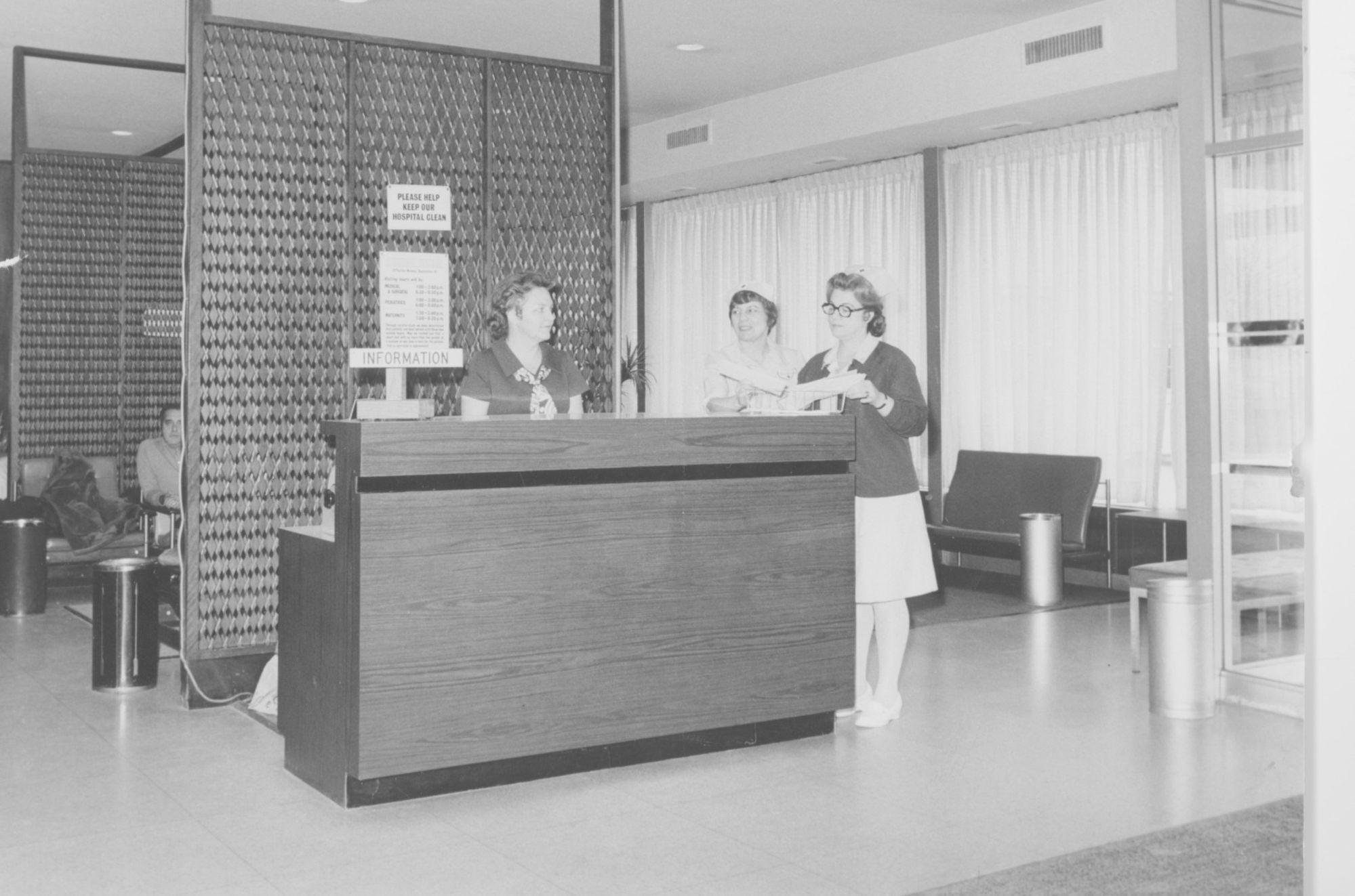 Nurses gather in the original lobby of Franklin Hospital, which first opened in 1963. Over the past 50 years, the building has been expanded and renovated.