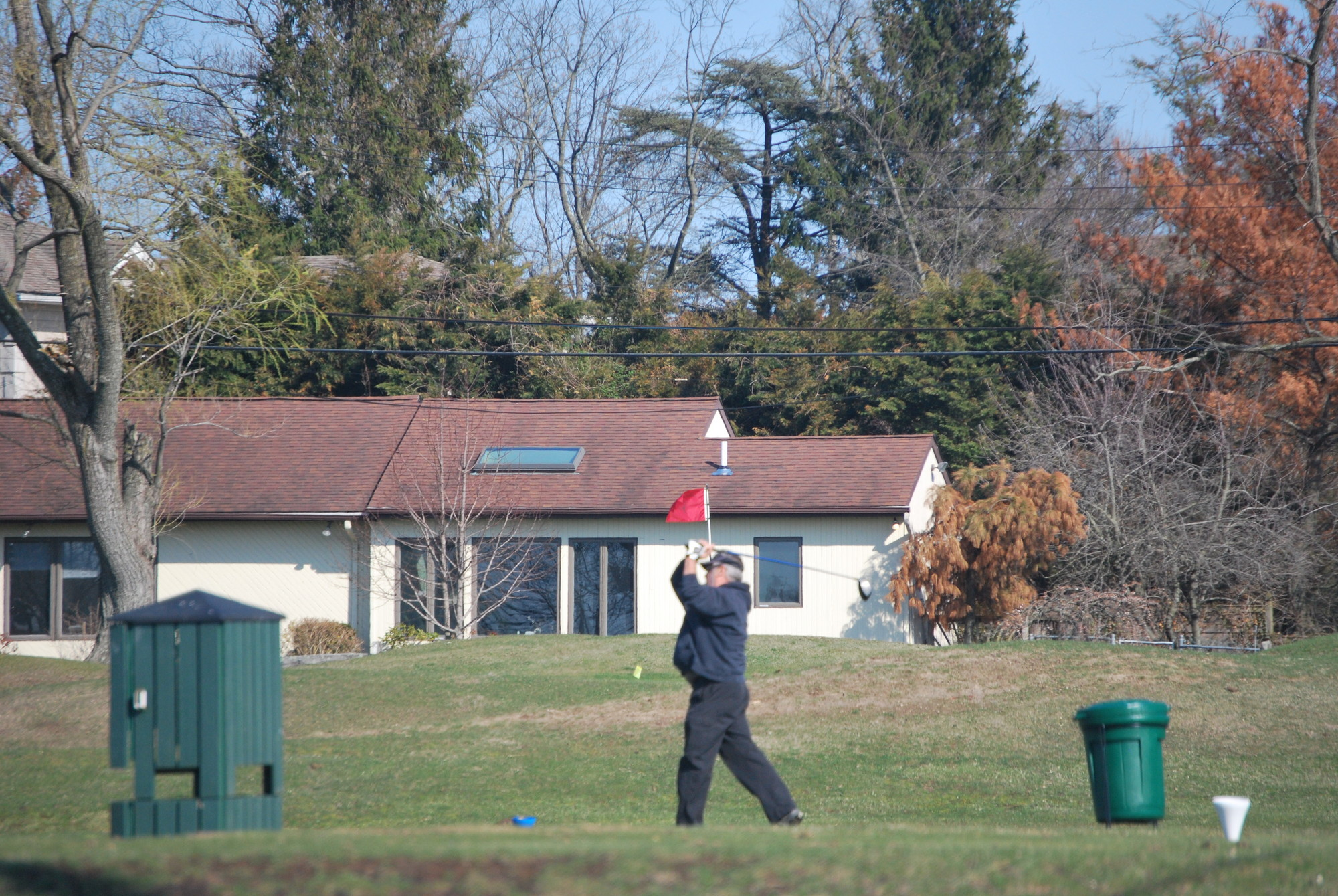 Village and club officials say Lawrence's golf course is in good shape. A golfer took advantage of a warm day on April 15 as he hit a shot on the 16th tee.