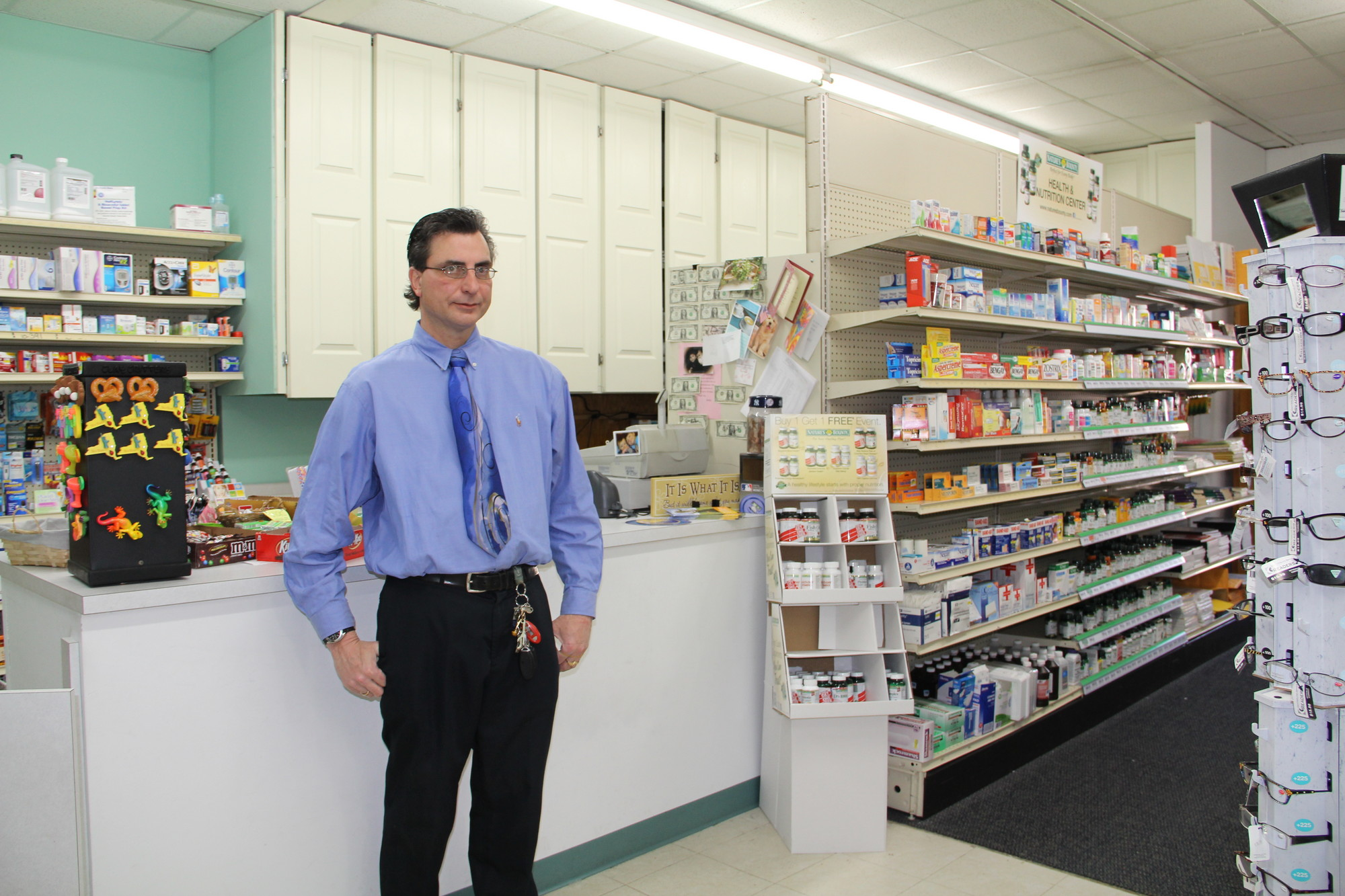 Bobby DeVivo, owner of Dale Drugs, hopes to move out of his temporary location and back to his old store on West Merrick Road by June or July.