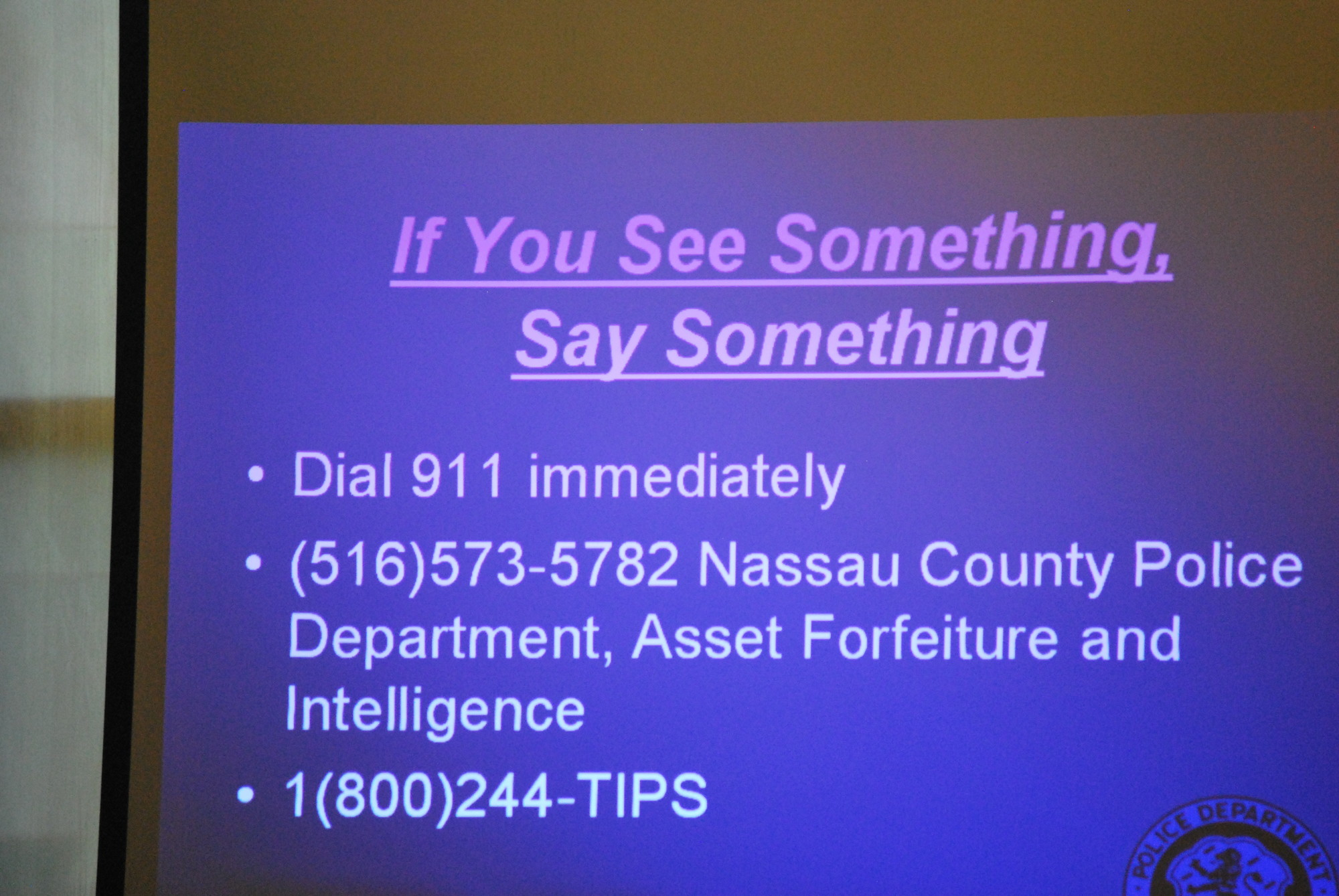 Nassau County police officials said that being vigilant and informing the authorities about suspicious behavior are ways to combat violent incidents.