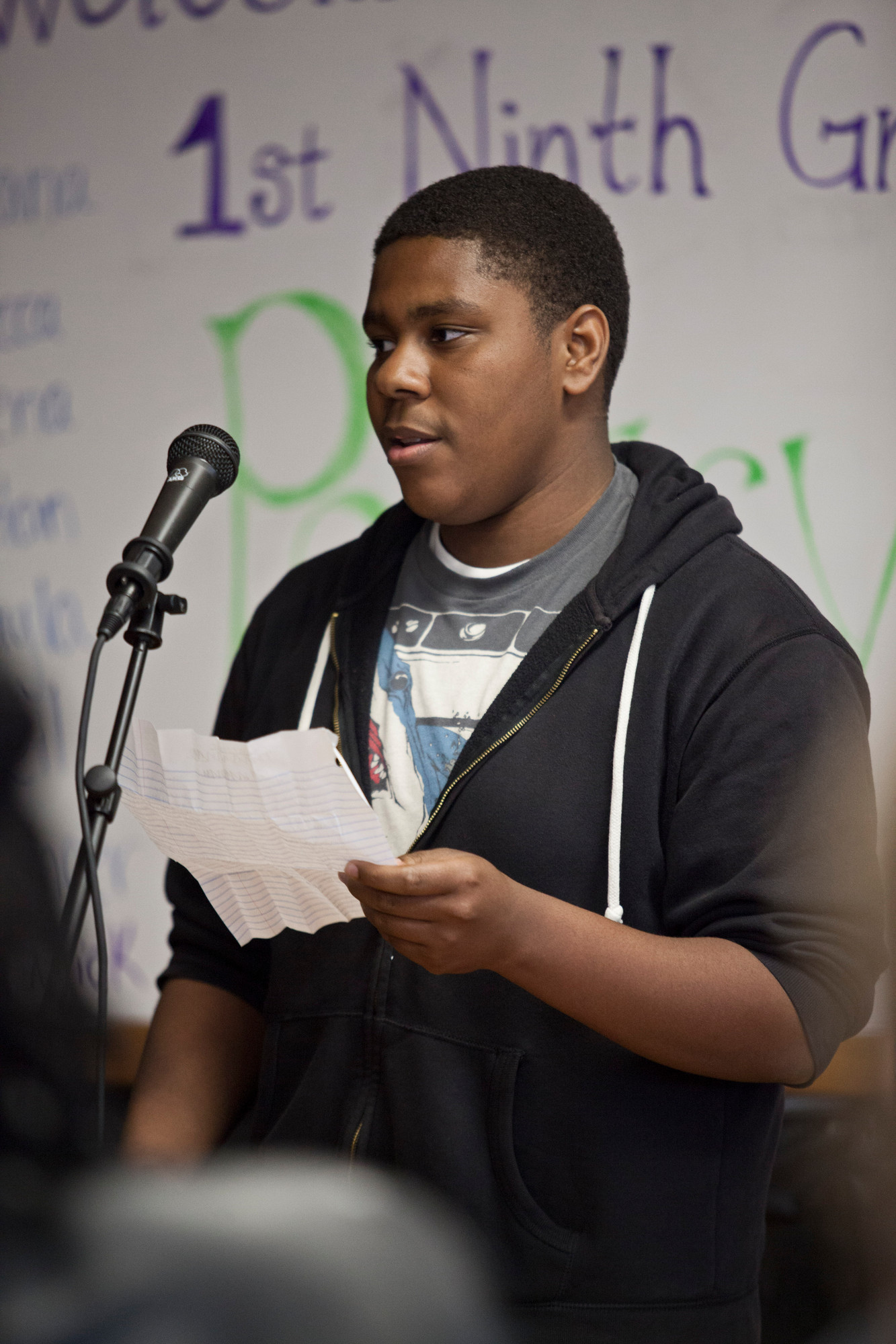 Oneil Anderson, a freshman at Valley Stream North High, recited his work in the school�s first poetry slam on April 18.