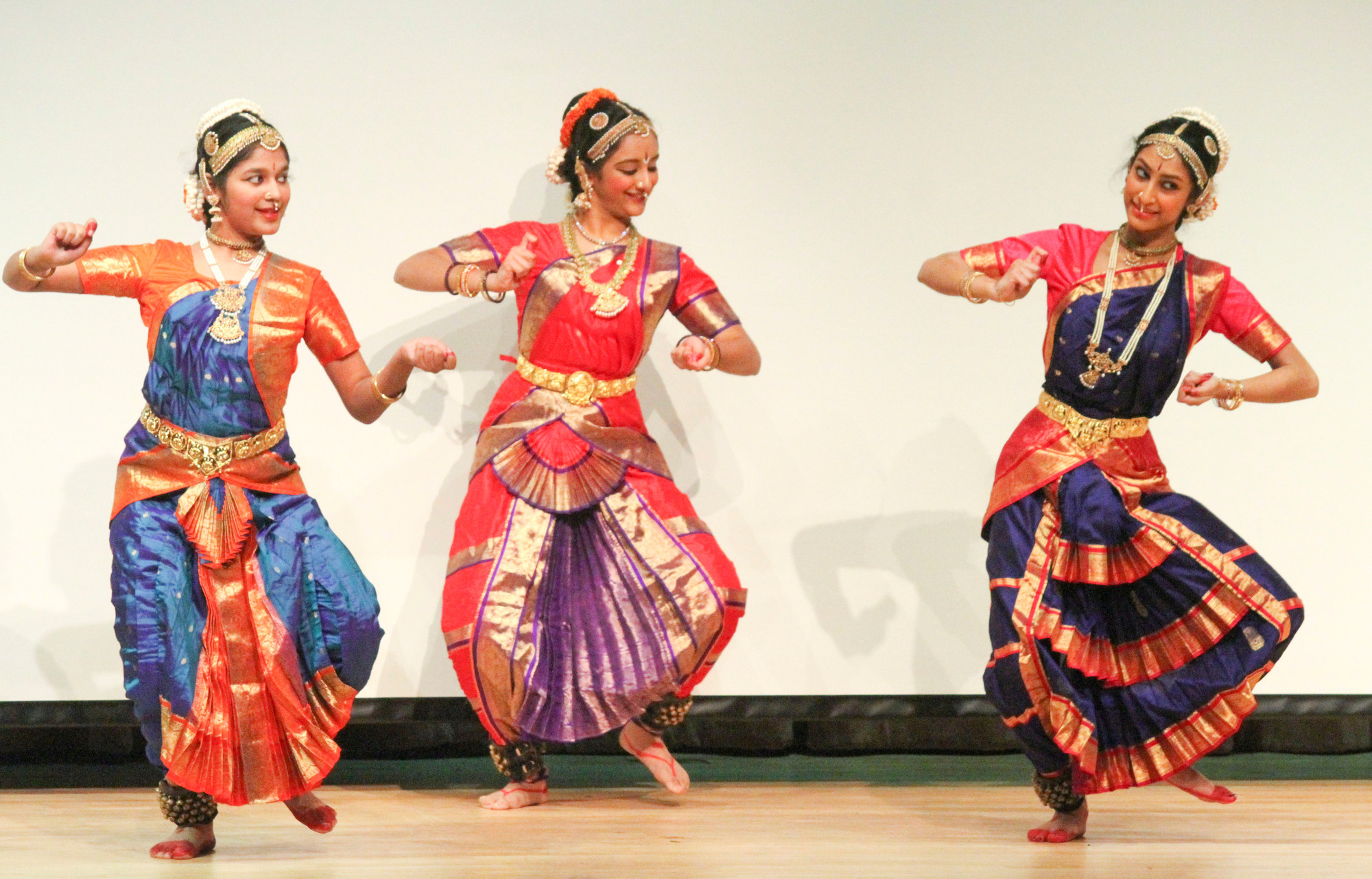 Various Indian dances were performed at the 11th annual Five Town Indian Association Children's Day. From left were Kalpita Chakote, Renuka Diwan, and Anoska Roy.